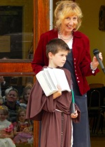 Mrs. Whitter with a third grader at the Christmas pageant.
