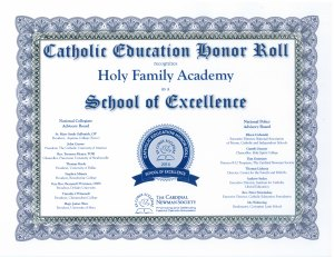Holy Family School of Excellence Award